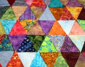 Batik Quilt Kit, Baby or Small Lap Size, Bright and Colorful Pyramids