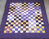 Nine - Patch Baby Quilt, Cotton and Flannel, Purples and Yellows