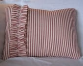 "Red and white ticking pillow cover with ruffle 12""x16"""