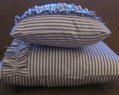Reserved listing Tamar Cox 4 custom blue and white ticking pillow cover with ruffle