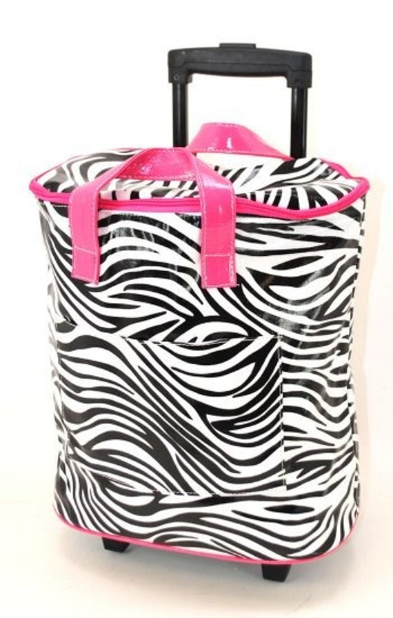 Personalized Monogrammed Embroidered Rolling Cooler - Zebra -2 Trim Choices - Tailgate in Style
