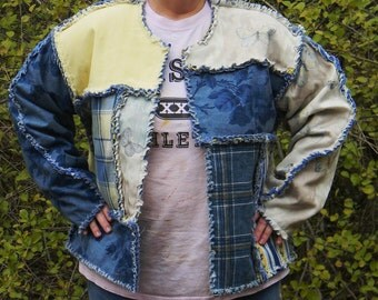 One of a Kind Shades of Blue Rag Quilt Jacket