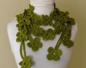 DOUBLE GREEN BLOOM SCARF-READY FOR SHIPPING