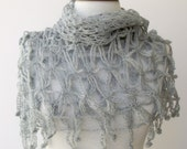 Web Grey  Mohair Triangle Shawl  With Pink Flower Brooch -Ready for shipping
