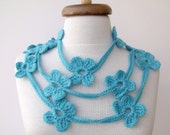 Turquoise Bloom Scarf-Ready for shipping