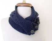 NEW- Dark Blue Ivy Neckwarmer With Button And Flower-Ready For Shipping