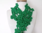 Dark Green Double Bloom Scarf-Ready For Shipping
