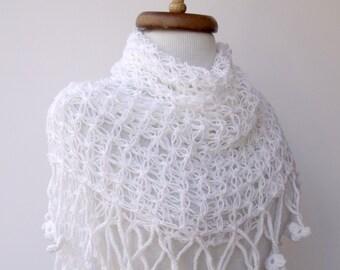 White  Coton Web Bridal Shawl-Four Season-Ready For Shipping