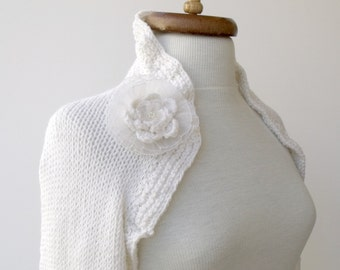 White Cotton Anemon Bridal Shrug bolero -Long Sleeves