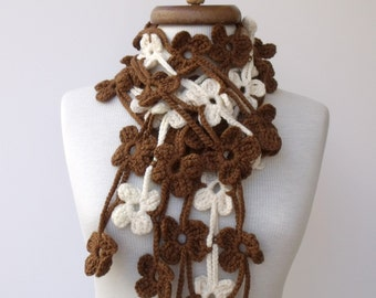 Brown and Cream TRIO BLOOM Scarf-Ready for shipping