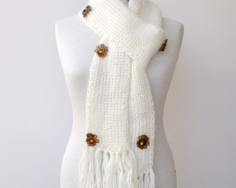 White Wool Scarf  With Flowers-Ready For Shipping-Fall Fashion