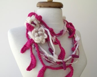 Pink Flower Leaf Lariat Scarf-Ready For Shipping