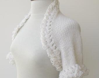 White COTTON Bridal Shrug -Ready For Shipping