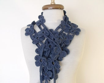 Double Dark Blue Bloom Scarf-Ready For Shipping