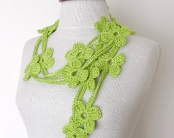 Spring Green Bloom Scarf-Ready for shipping
