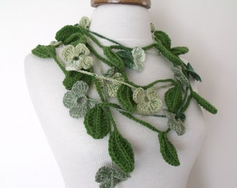 Green Leaf And Flower Double Scarf-Ready For Shipping
