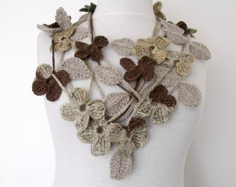 Beige Leaf And Flower Double Scarf-Ready For Shipping