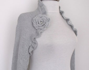 Light grey CASHMERE cotton long sleeves shrug With Flower Brooches