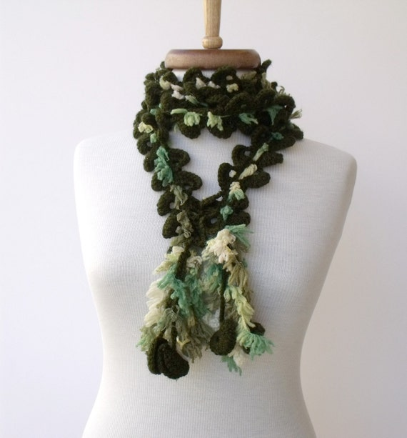 Dark Green Coral Scarf -Winter accessories-Ready for shipping