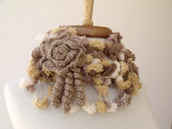 SALE...SALE...Cocoon Scarf wiht flower brooch-Ready For Shipping-Fall Fashion