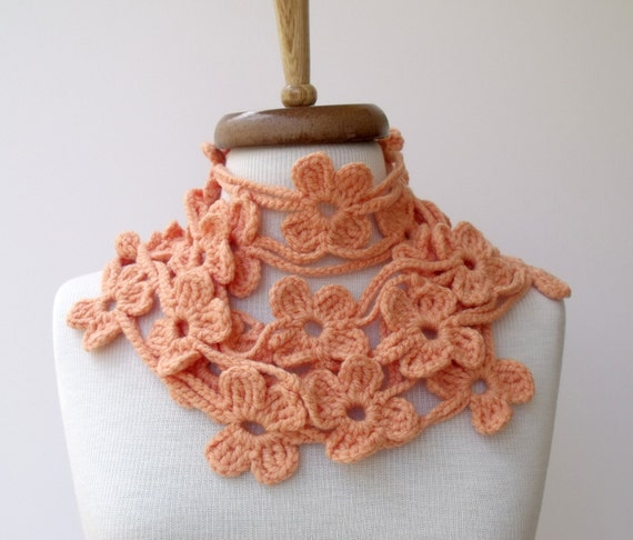Salmon Double Bloom Scarf-Ready for shipping