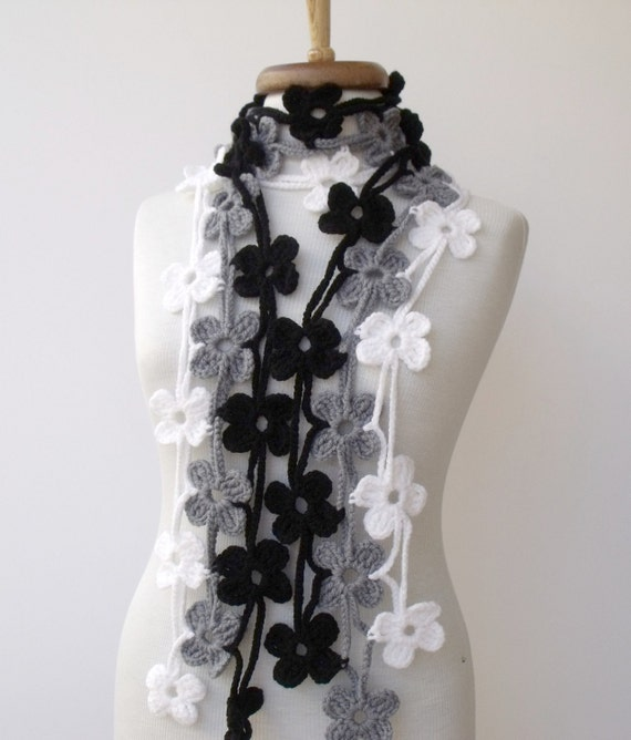 Trio Bloom Scarf-Grey Black White-READY FOR SHIPPING