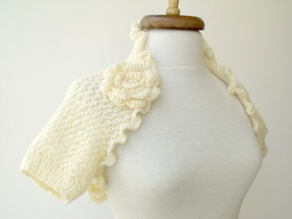 Ivory Bridal CASHMERE Mohair Honeycomb Shrug With Flower Brooch - Ready for shipping