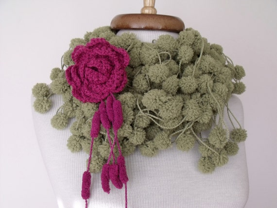 Green Cocoon Scarf wiht flower brooch-Ready For Shipping