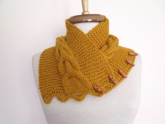 NEW- Mustard Ivy Neckwarmer With Button-Ready For Shipping