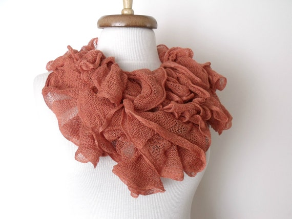 Frill Frizzy Cotton Scarf With Flower Brooch- READY TO SHIP-Fall fashion-Spring fashion