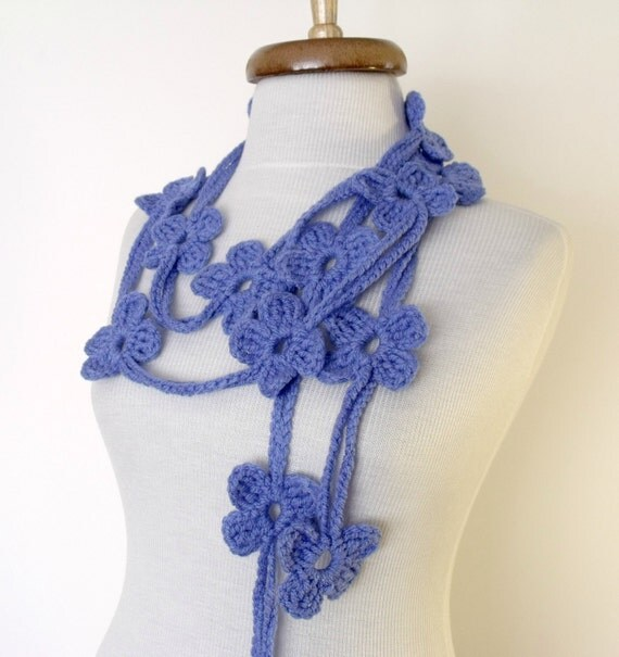 Cornflowerblue Bloom Scarf-Ready For Shipping