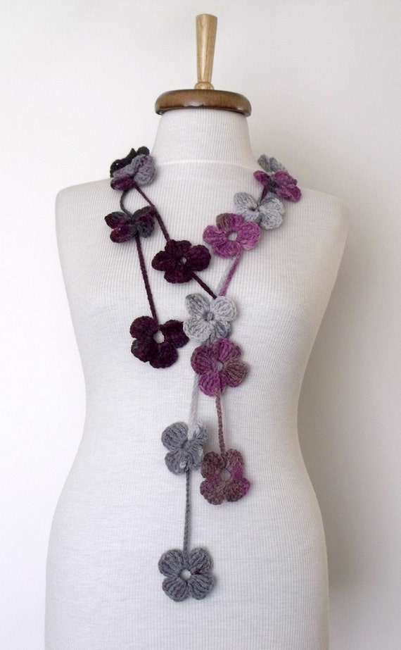 Multicolor Flower Lariat, Scarf, Necklace Hand Crochet-Ready For Shipping