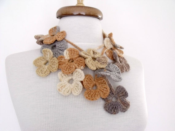 Cream, Brown,Grey  Lariat- Scarf- Necklace Hand Crochet-Ready For Shipping