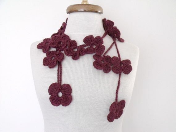 SALE...SALE...Burgundy Flower Lariat, Scarf, Necklace Hand Crochet-Ready For Shipping-Black Friday and Cyber Monday- Christmas gift