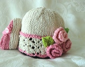 Baby Hats Knitting Knitted Lace Baby Hat Knit Baby Hat Knit Baby Hat with Roses Cotton Hand Knitted Baby Hat Newborn Baby Hat with Roses