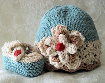 Hand Knitted  Baby Hat in Ivory Lace and Soft Blue, Hand Knitted Baby Clothing , Knitted Hat, Baby Girl Clothing
