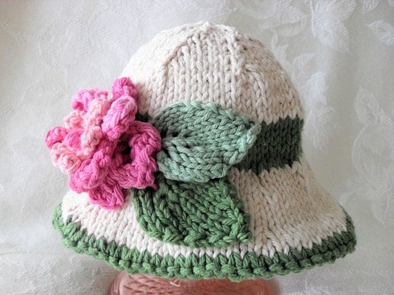 In Stock and Ready to Ship 0-3 mos. size-Knitted Brimmed Hat -Cotton Knitted Baby Hat- GREEN WITH ENVY for the Prettiest Little Baby Girl