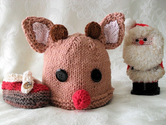 Hand Knitted Rudolph the Red Nosed Reindeer Baby Hat - Children Clothing Children Christmas-RUDY RUDY RUDY