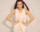 White Midi Dress Long Silk Crepe Day Sleeveless Petite Fall Fashion Etsy Gift