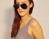 Stripe Tank Top Spring Fashion Singlet Sleeveless Sheer Tunic 8 M
