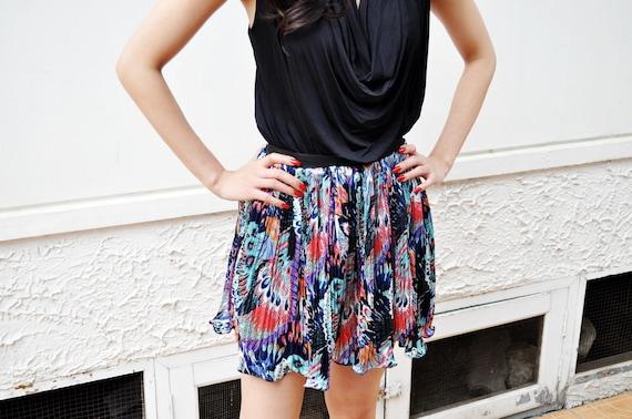 Spring Fashion Pleat Peacock Print Mini Skirt Short Animal Fernanda Ready to Ship Size 10 12 M L