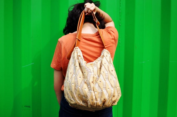 Yellow Hobo Bag Purse Yarn Handbag Lace Fashion Spring