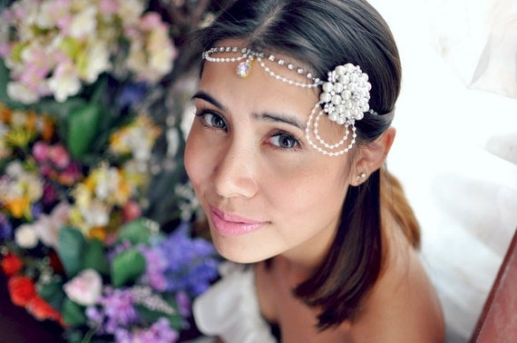 Spring Jewelry Flapper Metallic Rhinestone Headband Pearl Crystal Hair Bridal Accessories Wedding