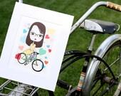 Retro Girl riding bike - Print. - Print for girls who ride bikes