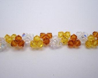 Topaz, Light Topaz and Crystal AB Swarovski Bracelet, Swarovski Bracelet, Bicone Bracelet
