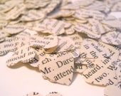 CYBER MONDAY SALE - Paper Hearts   --- Pride and Prejudice ---   1000 romantic vintage book pages wedding heart confetti - Mr. Darcy
