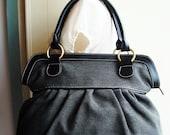 Black Sackcloth Color Handbag