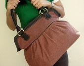 Handbag, Diaper bag,  Women bag, Travel bag, Brick Color Sackcloth
