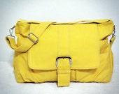 SALE - 10% OFF - Yellow Messenger bag, Women tote bag, Canvas Bag, Handheld Shoulder Bag, Diaperbag, Laptop Bag, Book Bag, Travel Bag