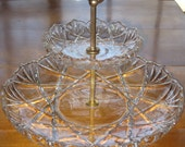Vintage 2 Tier Glass Serving Tray Crystal Walther Glas Germany Saturn pattern Cookie Dessert Platter Plate Serving Dish